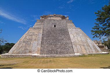 Pyramid of the Magician, Uxmal, Yucatan, Mexico - The...