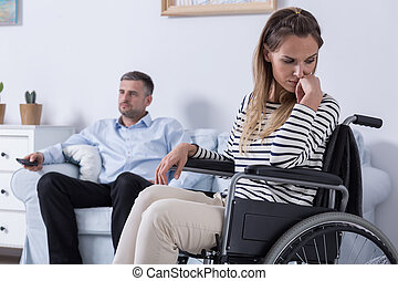 He can't accept my disability - Sad woman sitting on a...