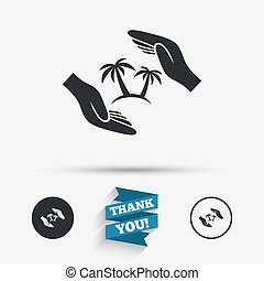 Travel insurance sign. Hands protect cover tree. - Travel...