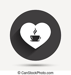 Love Coffee icon. Hot coffee cup sign.