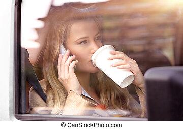 自動車, コーヒー, 女, 持つこと, ビジネス