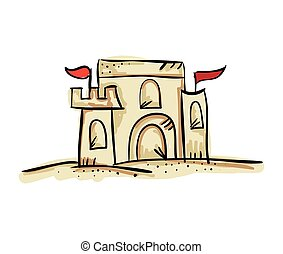sandcastle with red flags. fun summer activity. drawn design...