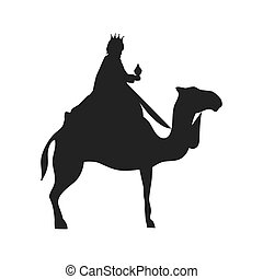 magi with camel. christmas religious symbol. vector...