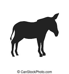 donkey farm animal. side view silhouette. vector...