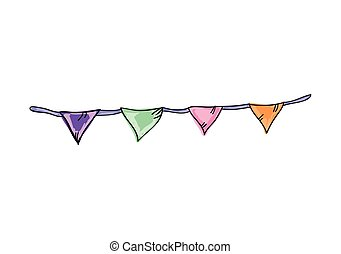 colorful bunting flags party decoration. drawn design....