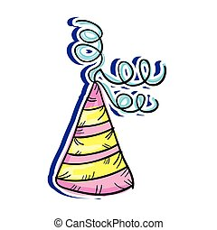 colorful party hat decoration. drawn design. vector...