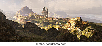 Celtic Highlands Landscape - A distance medieval castle...