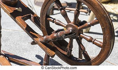 ruota, Antico, vendemmia, tradizionale, Strumento, filatura, mestiere, filato, lana