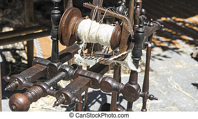 Retro, traditional spinning wheel for wool yarn, craft...