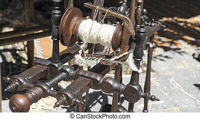 ruota, Antico, tradizionale, Strumento, filatura, mestiere, filato,  retro, lana