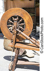 ruota, fabbricazione, Antico, tradizionale, Strumento, filatura, mestiere, filato, lana