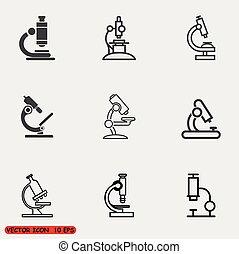 Microscope icons set
