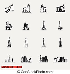Oil rig, pump and oil drilling platform icons sets - Oil...