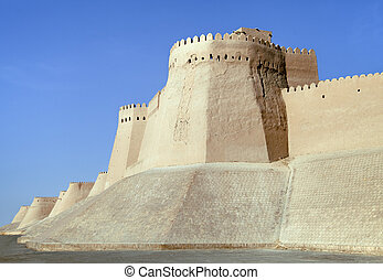 Itchan Kala walls - Old Town of Khiva, Uzbekistan - Walls of...