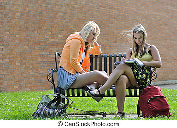 Teenage girls sitting in front of school