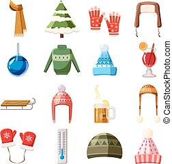 Winter icons set, cartoon style - Winter icons set in...