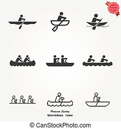 Rowing Icon set - Rowing Icon coxless pair. Rowing Icon set