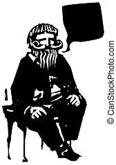 Sitting Old Man Speaking - Woodcut style expressionistic...
