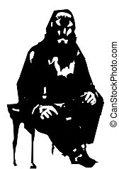Sitting patient Cyclopes - Woodcut style expressionistic...