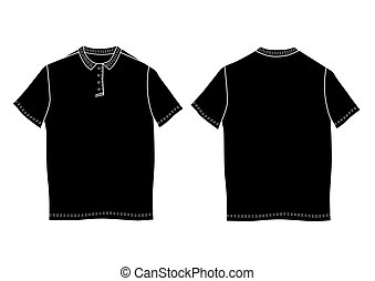 Polo shirt template. Front and back views.