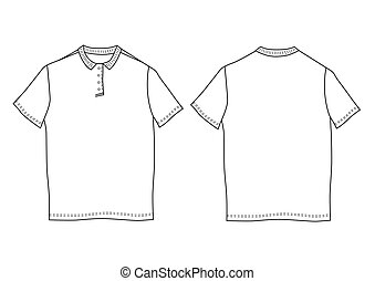 Polo shirt template. Front and back views