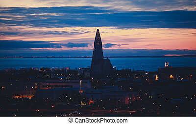Beautiful super wide-angle aerial view of Reykjavik, Iceland...