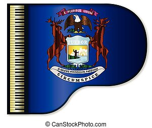 Grand Piano Michigan Flag - The Michigan state flag set into...
