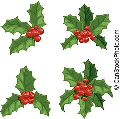 Christmas berry decoration vector set - Merry Christmas...