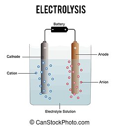 Electrolysis process (useful for education in schools) -...