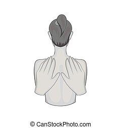 Back massage icon, black monochrome style - Back massage...
