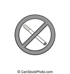 No smoking sign icon, black monochrome style - No smoking...