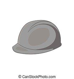 Construction helmet icon, black monochrome style -...