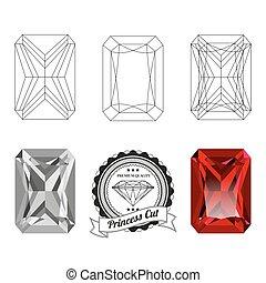 Set of princess cut jewel views