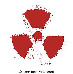 Splatter Radioactive Warning Symbol - A worn Caution...