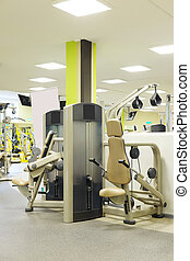fitness hall with sport equipment