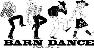 Barn dance - Barn western dance vector line art, no white...
