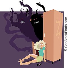 Demons in the closet - Scared woman sitting on the floor,...