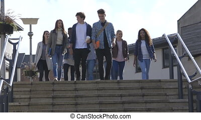Take the Steps - Group of Students walking down steps in a...