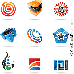 Various colorful abstract icons, Set 16