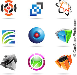 Various colorful abstract icons, Set 14