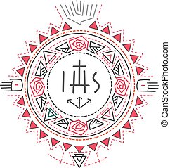 Religious symbols composition - Hand drawn vector...