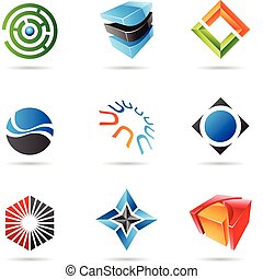 Various colorful abstract icons, Set 18 - Various colorful...