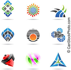 Various colorful abstract icons, Set 17