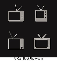 tv set icon illustration on black background