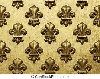 Fleur de Lis Pattern In Gold - Fleur-de-lis painted in gold...