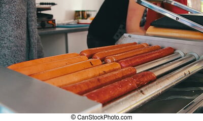 Sausages for Hot Dogs Cooked on the Grill - Bavarian...