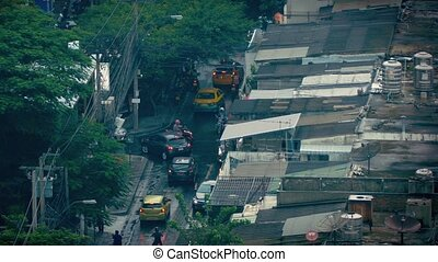 Heavy Traffic In Developing Country - High angle view of...