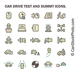 Car Test Icon - Car test drive and dummy vector icon sets.