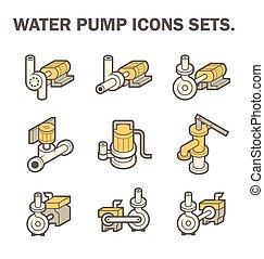 Water pump vector - Vector design of water pump icon sets...