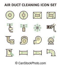 Duct clean icon - Air duct pipe cleaning vector icon sets